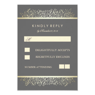 Gold Baby's Breath Chic Frame Wedding RSVP Cards 9 Cm X 13 Cm Invitation Card