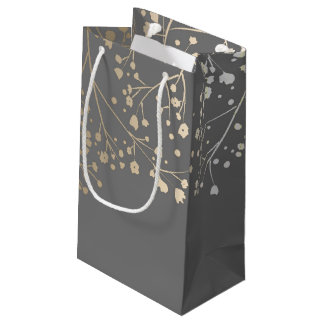 Gold Baby's Breath Elegant Grey Wedding Small Gift Bag