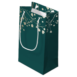 Gold Baby's Breath Elegant Teal Wedding Small Gift Bag