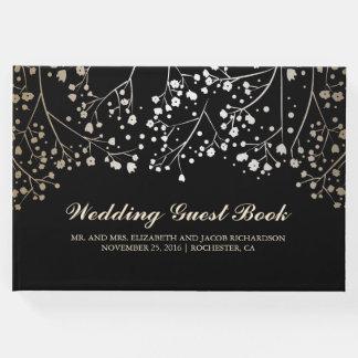 Gold Baby's Breath Floral Elegant Black Wedding Guest Book