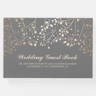 Gold Baby's Breath Floral Elegant Grey Wedding Guest Book