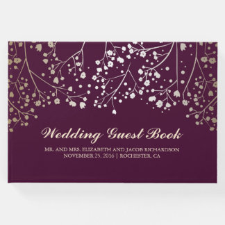 Gold Baby's Breath Floral Elegant Plum Wedding Guest Book
