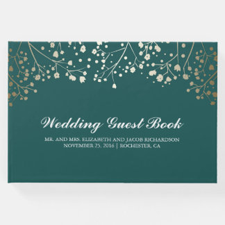 Gold Baby's Breath Floral Elegant Teal Wedding Guest Book