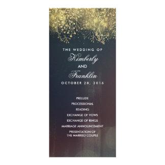Gold Baby's Breath Floral Vintage Wedding Programs Rack Card