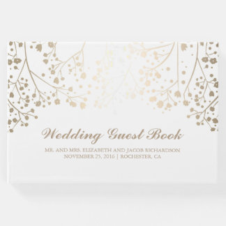 Gold Baby's Breath Floral White Elegant Wedding Guest Book