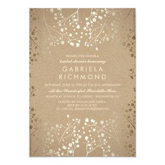 Gold Baby's Breath Kraft Bridal Shower Card