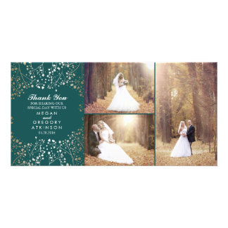 Gold Baby's Breath Teal Wedding Photo Thank You Card