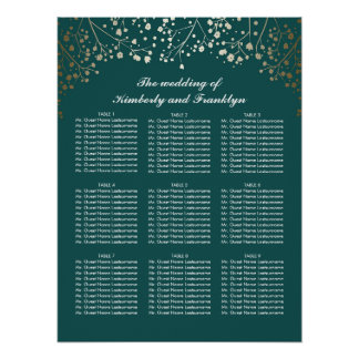 Gold Baby's Breath Teal Wedding Seating Chart