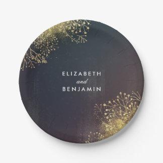 Gold Baby's Breath Vintage Elegant Wedding Paper Plate