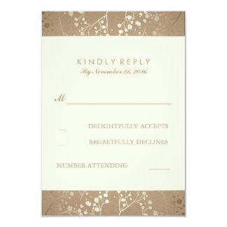 Gold Baby's Breath Wedding RSVP Cards 9 Cm X 13 Cm Invitation Card