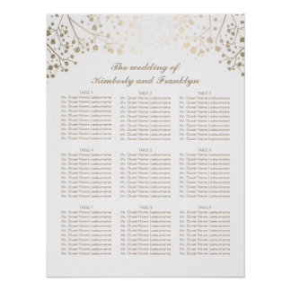 Gold Baby's Breath White Wedding Seating Chart Poster