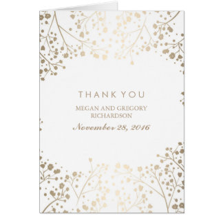 Gold Baby's Breath White Wedding Thank You Card
