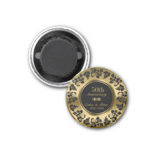 Gold Background And Black Damask- Gold Anniversary Magnet