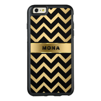 Gold Background And Black Zigzag Chevron Pattern OtterBox iPhone 6/6s Plus Case