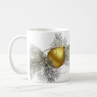 Gold Ball Ornament Basic White Mug