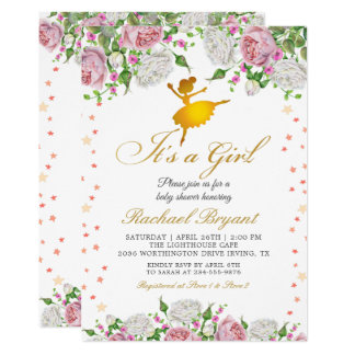 Gold Ballerina Its a Girl Floral Baby Shower Card