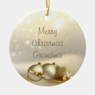 Gold Balls, Bells and Stars Ceramic Ornament