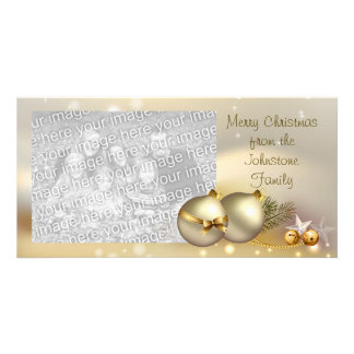 Gold Balls, Bells and Stars Customized Photo Card