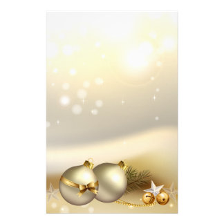 Gold Balls, Bells and Stars Stationery Paper