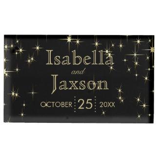 Gold Bar & Black Starlights Wedding 2 Table Number Holder
