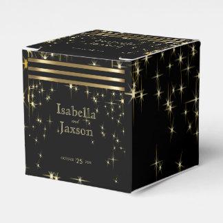 Gold Bar & Black Starlights Wedding Favour Box