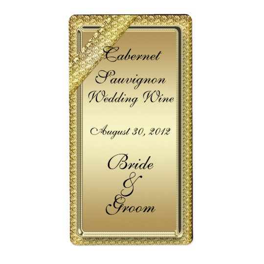 Gold Bar Wedding Wine Label