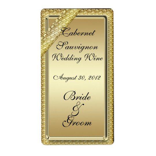 Gold Bar Wedding Wine Label Shipping Label