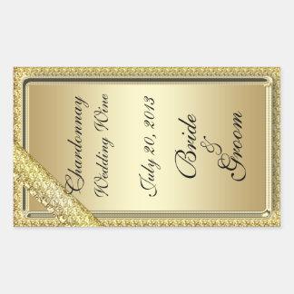 Gold Bar Wedding Wine Label Sticker