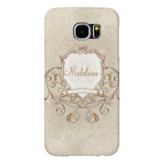Gold Baroque Lace Parchment Swirl Personalized Samsung Galaxy S6 Cases