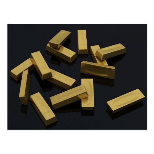 Gold bars in bulk on a black background post cards