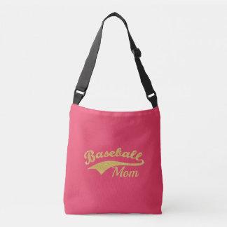 Gold Baseball Mom Text Crossbody Bag