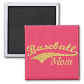 Gold Baseball Mom Text Square Magnet