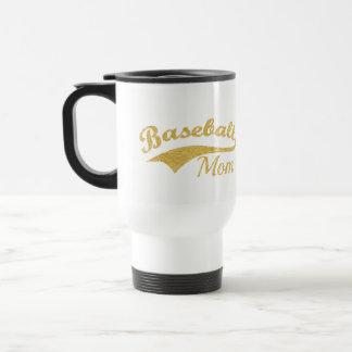 Gold Baseball Mom Text Travel Mug