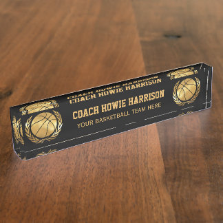 Gold basketball Coach Nameplate