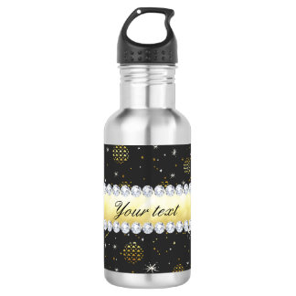 Gold Baubles Stars and Diamonds Bling Black 532 Ml Water Bottle
