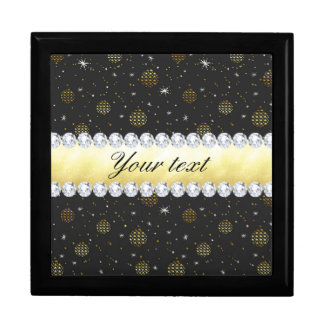 Gold Baubles Stars and Diamonds Bling Black Gift Box