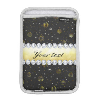 Gold Baubles Stars and Diamonds Bling Black iPad Mini Sleeve