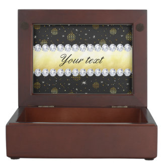 Gold Baubles Stars and Diamonds Bling Black Keepsake Box