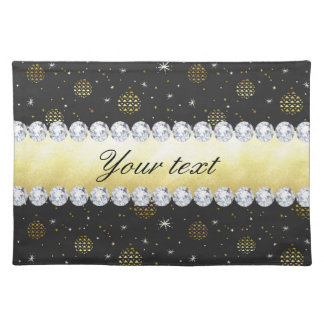 Gold Baubles Stars and Diamonds Bling Black Placemat