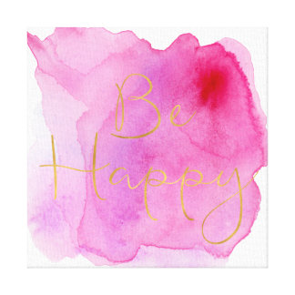 Gold Be Happy Pink Watercolor Canvas Print