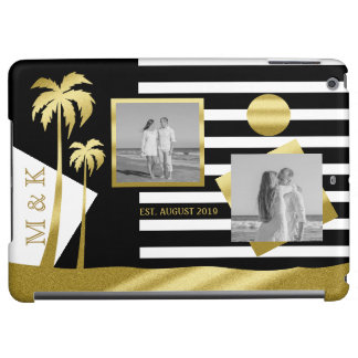 Gold Beach Black Stripes Instagram Photos Monogram iPad Air Cover