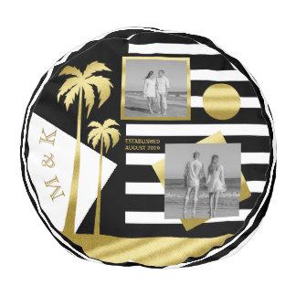 Gold Beach Black Stripes Instagram Photos Monogram Pouf