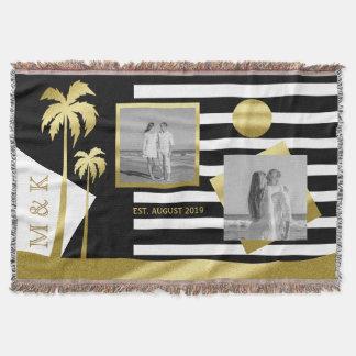 Gold Beach Black Stripes Instagram Photos Monogram Throw Blanket