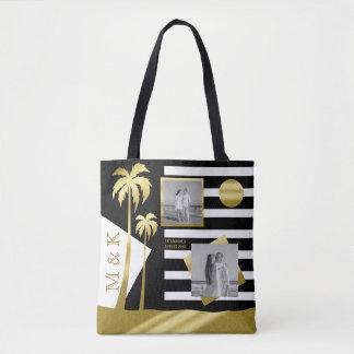 Gold Beach Black Stripes Instagram Photos Monogram Tote Bag