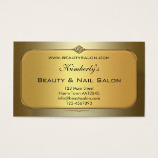 Gold Beauty & Nail Salon Appointment Business Card