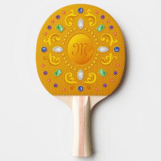 Gold Beauty Princess Mirror with Jewels and Gems Ping Pong Paddle