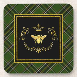 Gold Bee Crown Irish Tartan Coaster