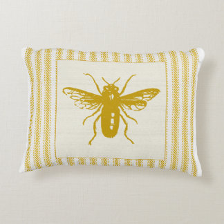 Gold Bee with Ticking Decorative Cushion