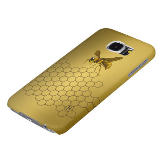 Gold Beehive Honeybee Personalized Monogrammed Samsung Galaxy S6 Cases