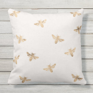 Gold Bees and polka dots outdoor throw pillow